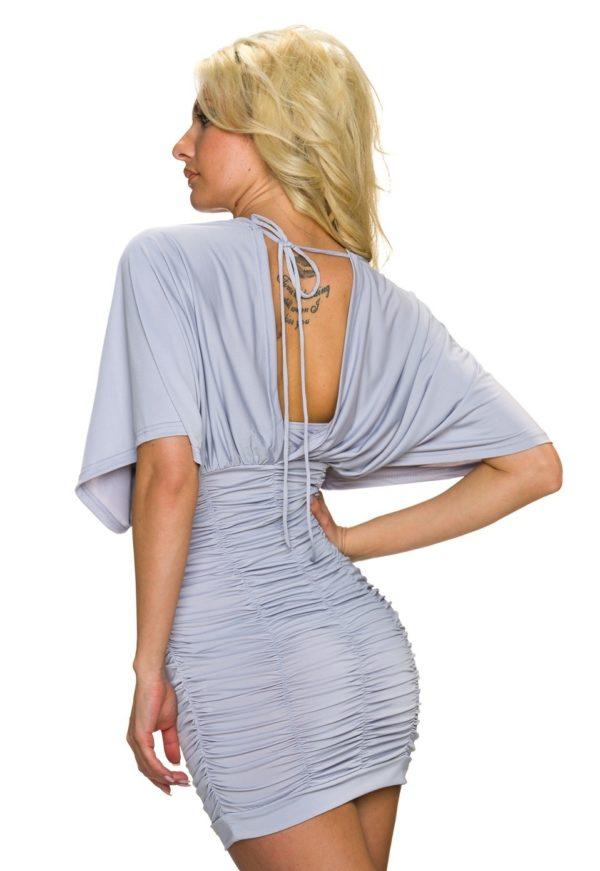 Μίνι φόρεμα με μανίκια νυχτερίδα και σούρες