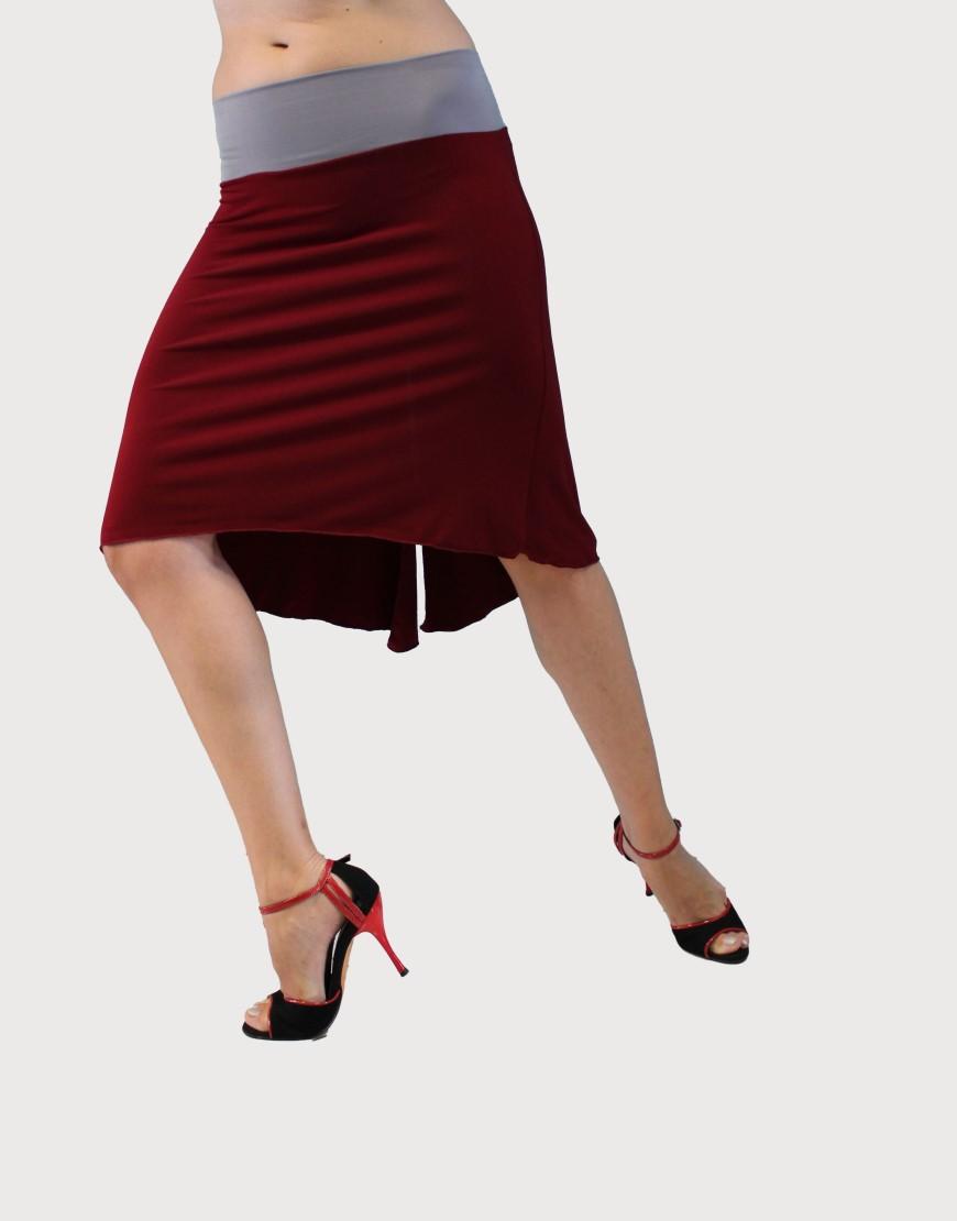 12a0398c50d Φούστα tango σε μπορντώ - γκρι χρώμα - Baila.gr