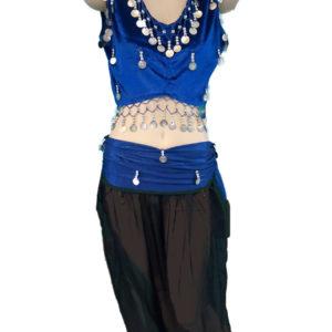 Στολή οριεντάλ χορού σε μπλε-μαύρο χρώμα με ασημί φλουριά